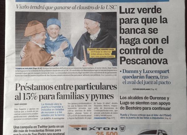 PrestamosHipotecarios.Net portada del Correo Gallego