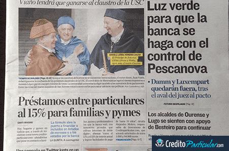 CreditoParticular.com portada del Correo Gallego