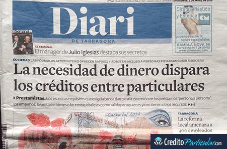 CreditoParticular.com portada del Diario de Tarragona